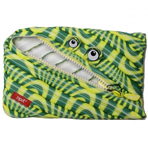 Zipit Prints Monster Jumbo Pouch - Abstract Green & Yellow