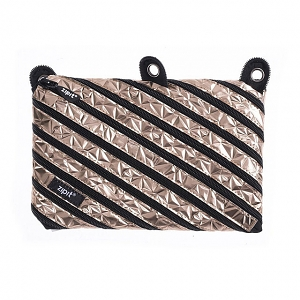 Zipit Metallic 3 Ring Pouch - Bronze