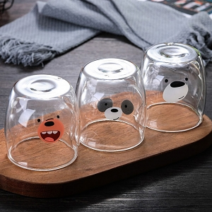Cute Animal Double-Layer Glass Cup