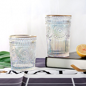 Retro Flower Glass Cup