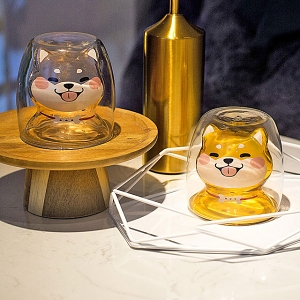 Shiba Double-Layer Glass Cup