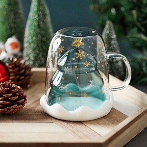 Christmas Tree Double-Layer Glass Cup