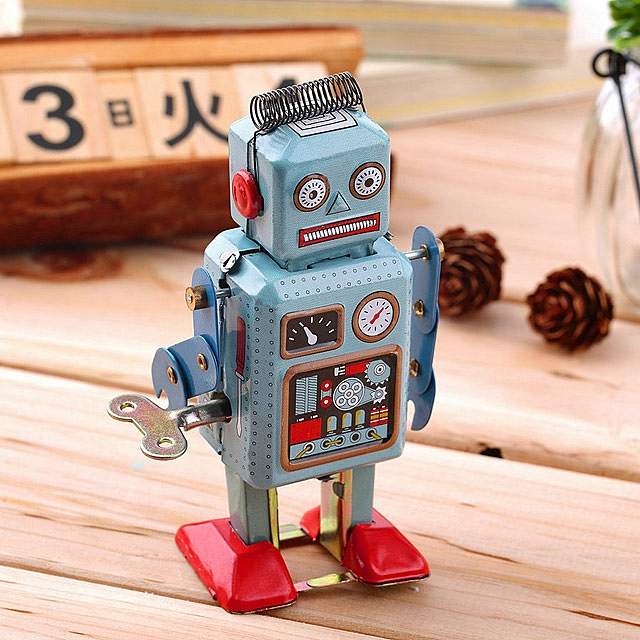 Retro Metal Clockwork Walking Robot