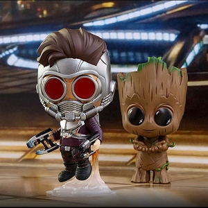 Hot Toys Guardians of the Galaxy Vol. 2 - Star-Lord & Groot Cosbaby Bobble-Head Collectible Set