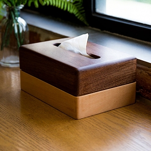 Two Tone Wooden Paper Tissue Box