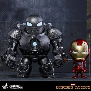 Hot Toys Iron Man Mark III (Battle Damaged Version) & Iron Monger Cosbaby Bobble-Head Set