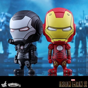 Hot Toys Iron Man Mark III & War Machine (Comic Color Version) Cosbaby Bobble-Head Collectible Set
