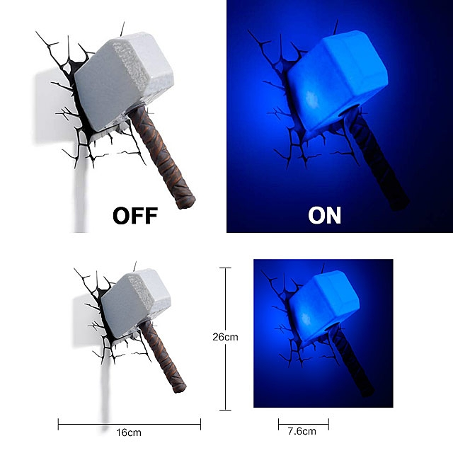 Thor hammer 3d decorative wall lamp mozeypictures