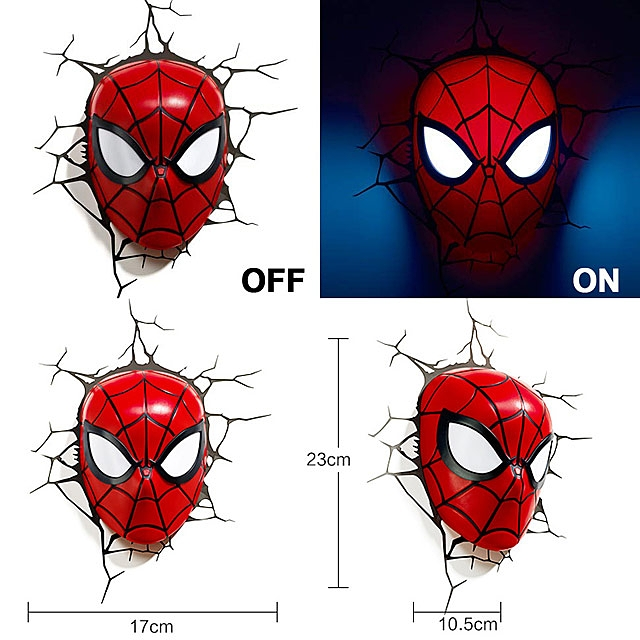 Spider-Man Mask 3D Decorative Wall Lamp