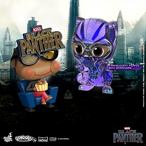 Hot Toys Black Panther Movbi and Black Panther Cosbaby (S) Bobble-Head Collectible Set