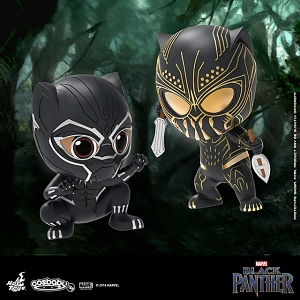 Hot Toys Black Panther and Erick Killmonger Cosbaby (S) Bobble-Head Collectible Set