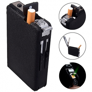 Automatic Cigarette Case with Windproof Lighter