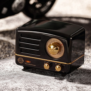 Retro Mini Metal FM Radio Bluetooth Speaker - Black