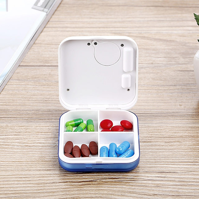 Portable Pill Case with Digital Alarm Clock (4 Compartments)