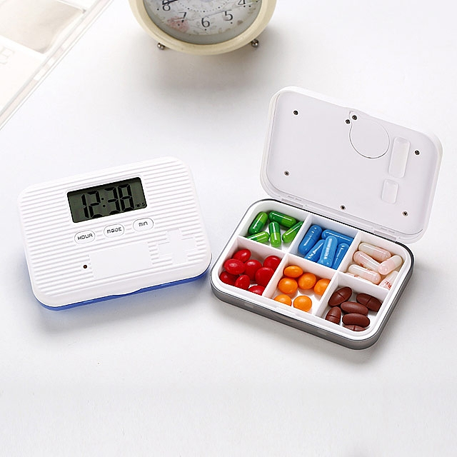 Portable Pill Case with Digital Alarm Clock (6 Compartments)