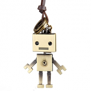 Retro Copper Robot Necklace