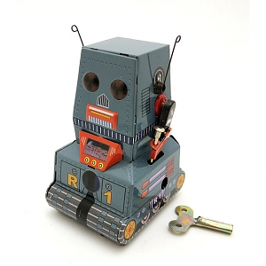 Retro Metal Clockwork Walking Tank Robot