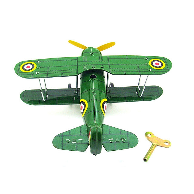 Retro Metal Clockwork Green Curtiss Biplane