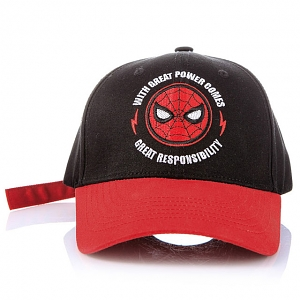 Marvel Spider Man Head Logo Embroidery Letter Print Simple Black Baseball Cap