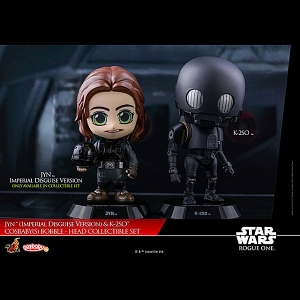 Hot Toys Star War Rogue One - Jyn Imperial Disguise Version & K-2SO Cosbaby (S) Bobble-Head Collectible Set