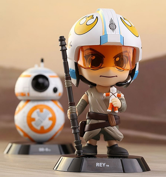 Hot Toys Star Wars The Force Awakens - Rey & BB-8 Cosbaby (S) Bobble-Head Set