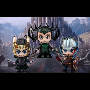 Hot Toys Thor Ragnarok - Loki Hela Gladiator Thor Cosbaby (S) Bobble-Head collectible Set