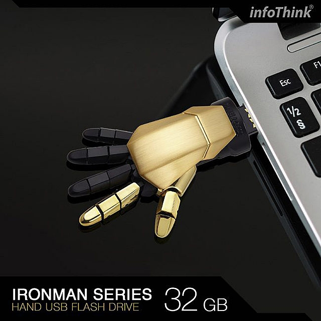 infoThink Iron Man USB Flash Drive - Right Hand (Black Gold Version)